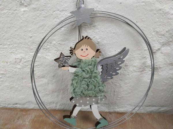 Ring, Metall, silber, mit Engel, Holz, zum Hängen,