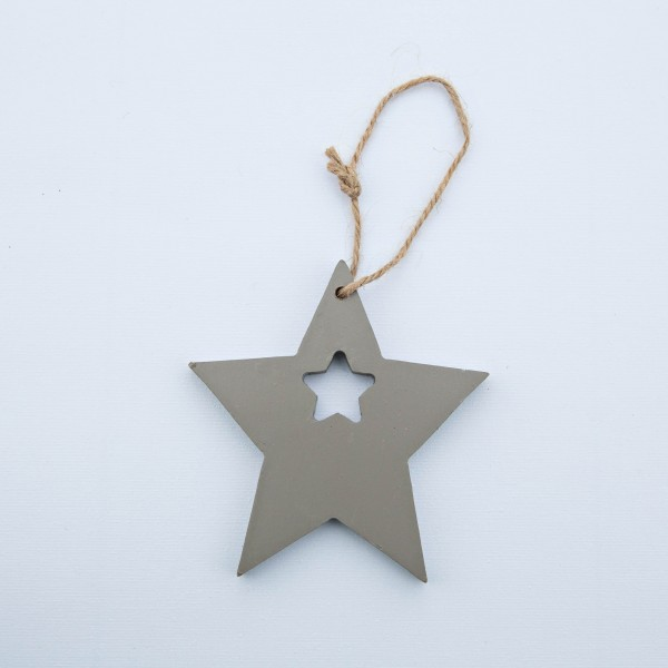 Stern, Holz, grau, 10x10x1 cm, zum Hängen
