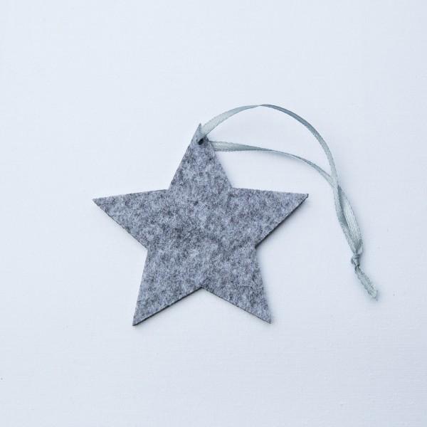 Stern, Filz, grau, 12 cm, zum Hängen
