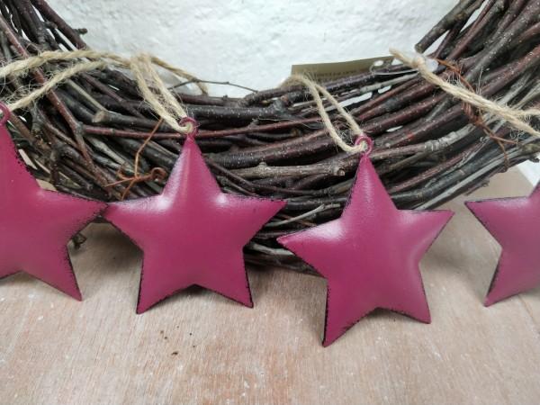 Sterne, Metall, helllila, Set, 4 Stück, zum Hängen