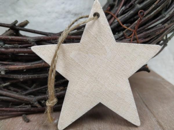 Stern, Holz, creme, used, 7,5 cm