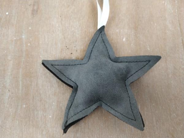 Stern, Stoff, grau, zum Hängen, 11 cm
