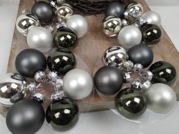 Weihnachtskugeln, silber, grau, Set, 24 Stück, 4 cm