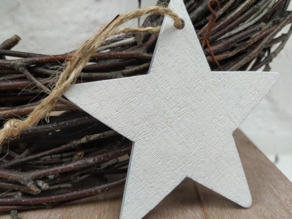 Stern, Holz, weiß, used, 7,5 cm