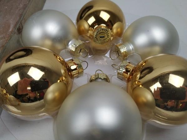 Weihnachtskugeln, 12 Stück, gold, creme, 6 cm