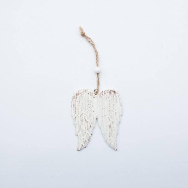 Flügel, Holz, antik-weiß, used-Look, 9x7x0,5 cm, zum Hängen