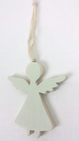 Engel, Holz, blau, 10x9x1 cm, zum Hängen
