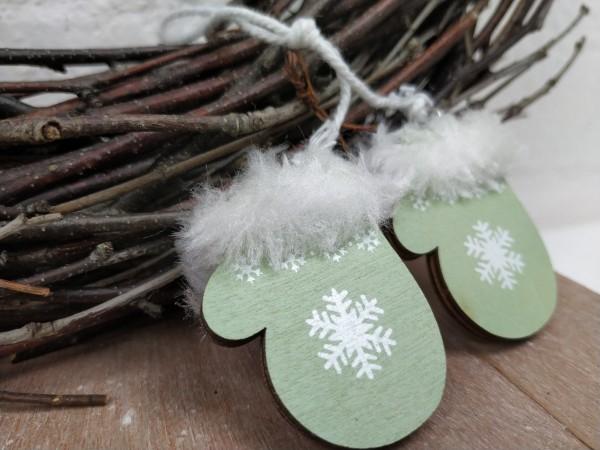 Handschuhe, Holz, grün, Glitzer, zum Hängen