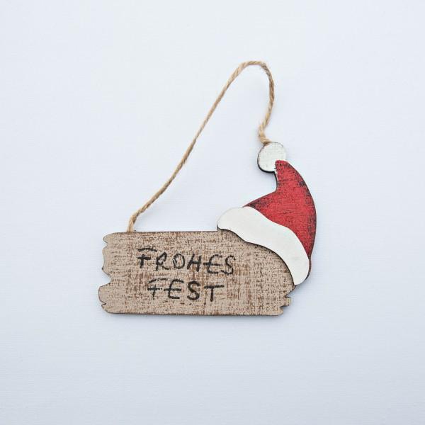 "Schild, Holz, ""Frohes Fest"", natur/rot, 8x10x1 cm, zum Hängen"
