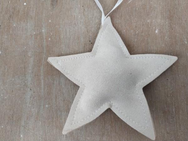 Stern, Stoff, creme, zum Hängen, 11 cm
