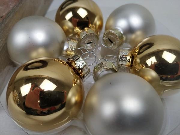 Weihnachtskugeln, gold, creme, Set, 24 Stück, 4 cm