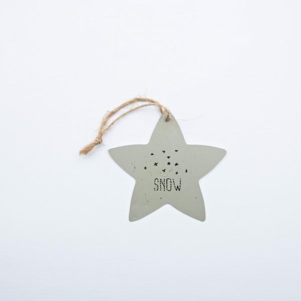 """Stern, Blech, grau, """"SNOW""""; 8 cm, zum Hängen"""