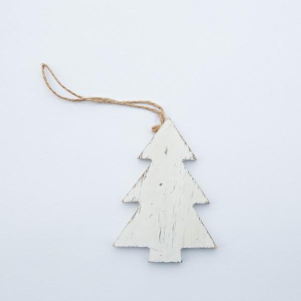 Tanne, Holz, antik weiß, 10x7x1 cm, zum Hängen