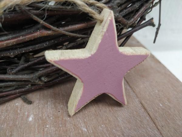 Stern, Holz, natur, lila, 5 cm