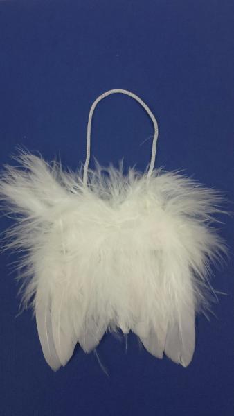 Feder, Flügel, weiß, 8x8x1 cm, zum Hängen