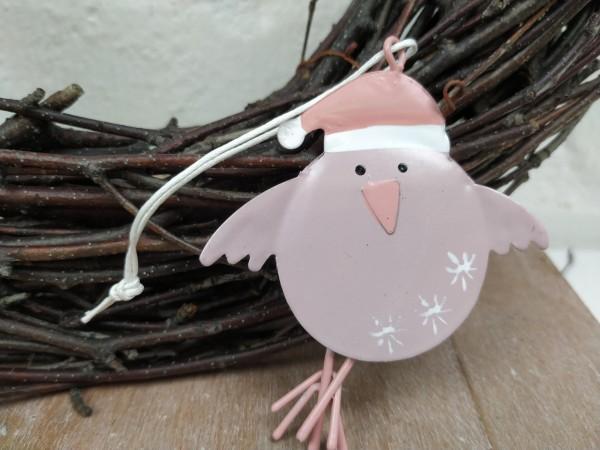 Vogel, Metall, pink/rosa, zum Hängen