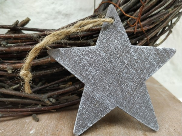 Stern, Holz, grau, used, 7,5 cm