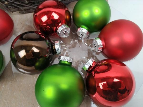 Weihnachtskugeln, 12 Stück, rot, grün, braun, 6 cm