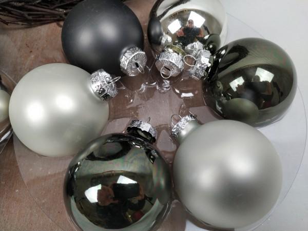 Weihnachtskugeln, 12 Stück, silber, grau, 6 cm
