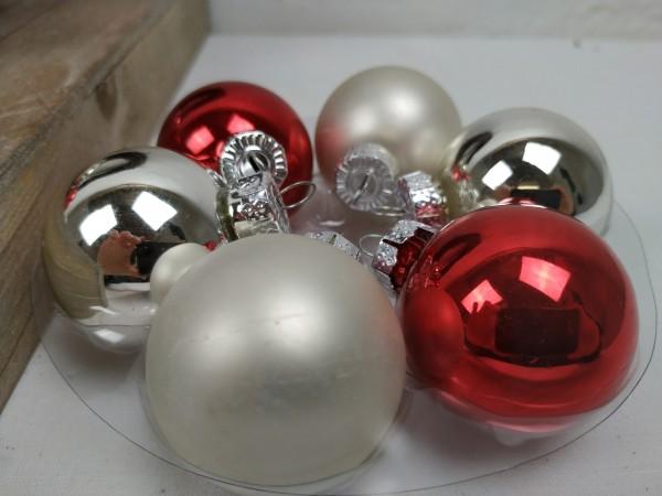 Weihnachtskugeln, silber, rot, Set, 24 Stück, 4