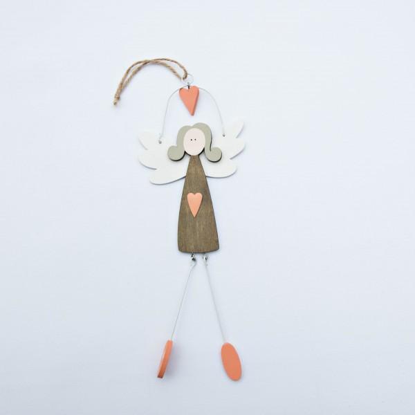 Engel, Holz, braun/orange, 30x11x1 cm, zum Hängen