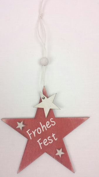 "Stern, Holz, ""Frohes Fest"", rot, 10 cm, zum Hängen"