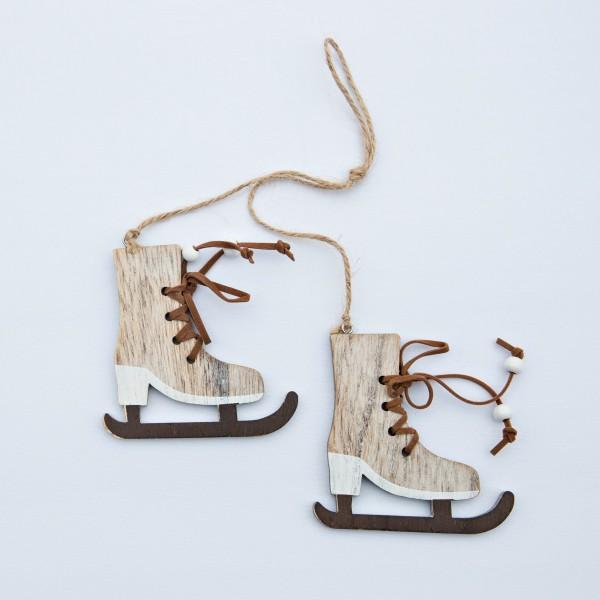 Schlittschuhe, Paar, Holz, weiß-braun, 8,5 x8,5 cm, zum Hängen