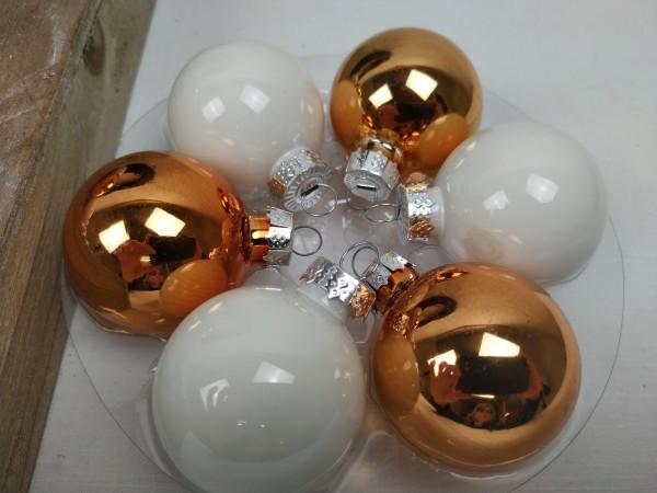 Weihnachtskugeln, kupfer, weiß, Set, 24 Stück, 4 cm