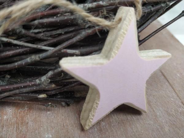Stern, Holz, natur, rosa, 5 cm