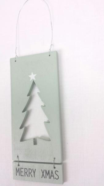 "Schild, Holz, grün, ""MERRY XMAS"", 14x6x0,5 cm, zum Hängen"