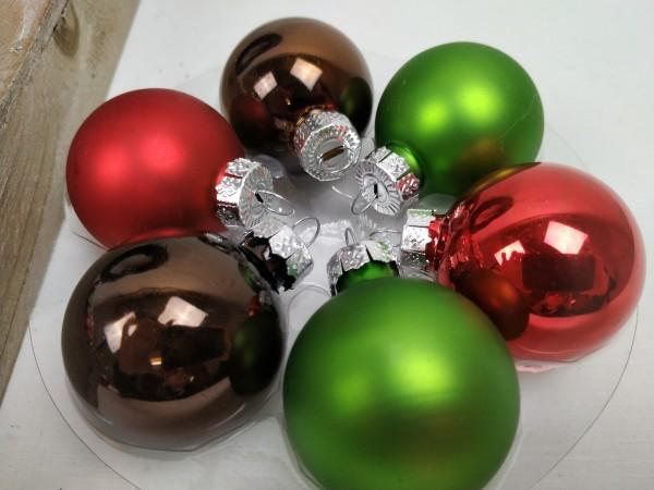 Weihnachtskugeln, rot, grün, braun, Set, 24 Stück, 4
