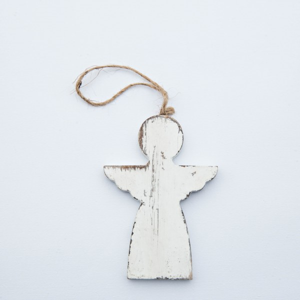Engel, Holz, antik weiß, 10x7x1 cm, zum Hängen