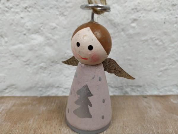 Engel, Holz, zum Hängen, Tanne, rosa, used