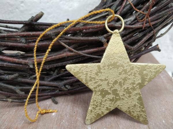 Stern, Metall, gold, zum Hängen, 6 cm