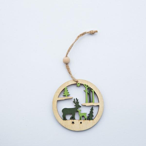 Winterlandschaft, Holz, natur/grün, 2 Stück, 7 cm, zum Hängen