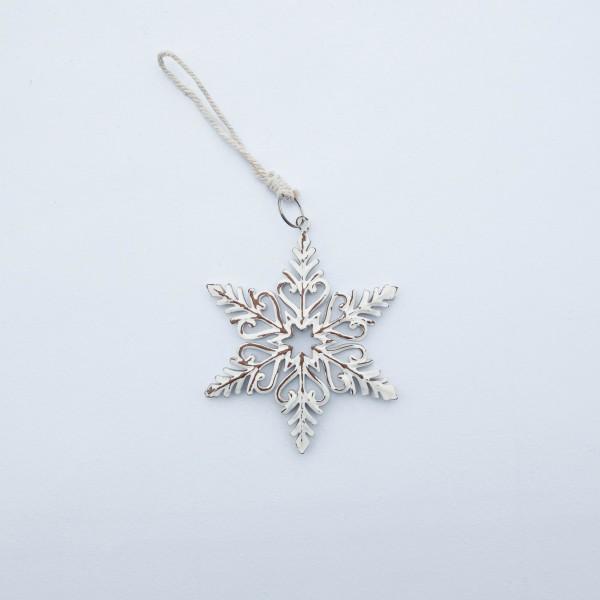 Schneeflocke, Metall, creme/weiß, 10 cm, zum Hängen