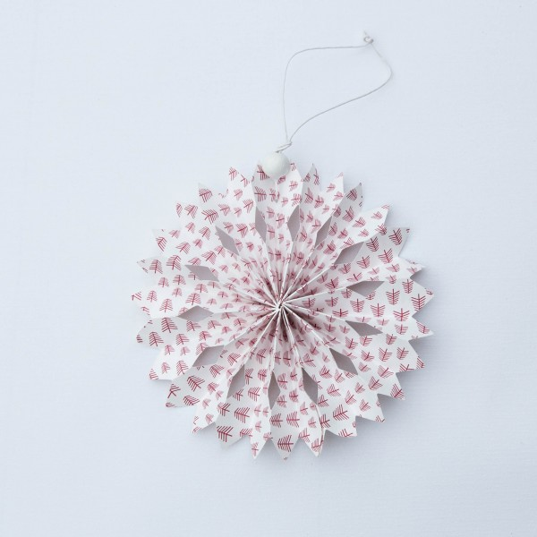 Schneeflocke, Papier, weiß, rote Bäume, 14 cm, zum Hängen