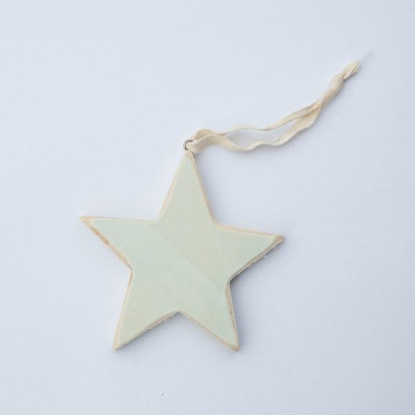 Stern, Holz, blau, used-Look, 9 cm, zum Hängen