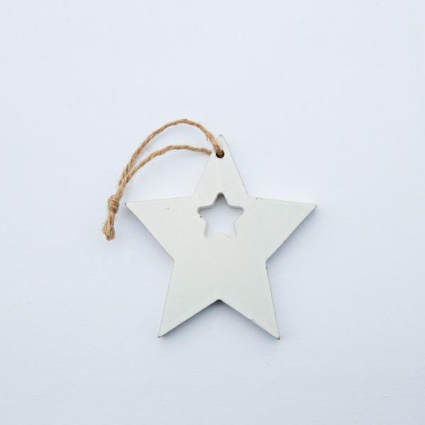 Stern, Holz, weiß, 10x10x1 cm, zum Hängen