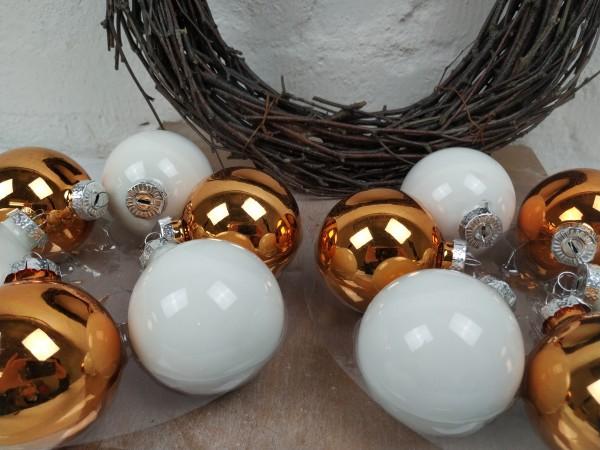 Weihnachtskugeln, 12 Stück, kupfer, weiß, 6 cm