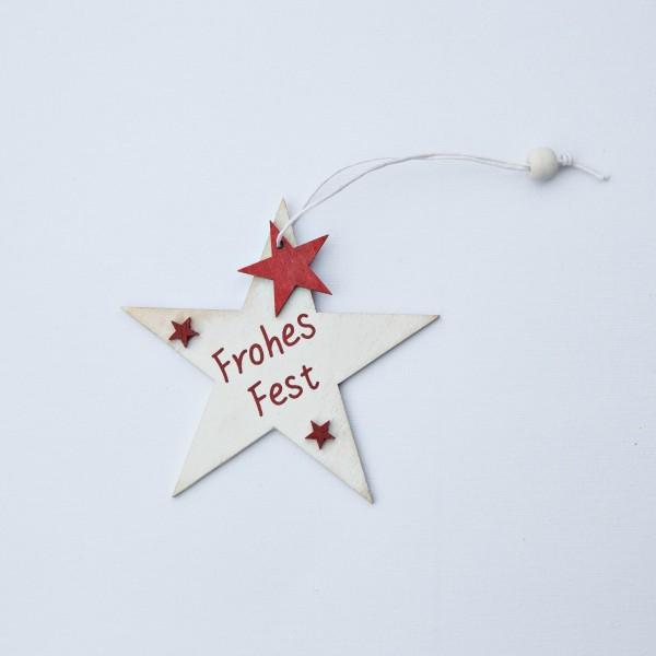 """Stern, Holz, """"Frohes Fest"""", creme, 10 cm, zum Hängen"""