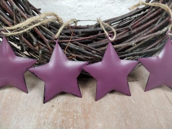 Sterne, Metall, lila, Set, 4 Stück, zum Hängen
