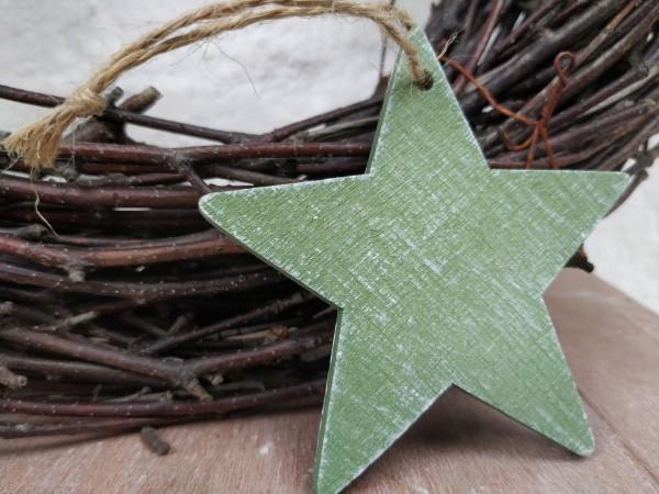 Stern, Holz, hellgrün, 7,5 cm