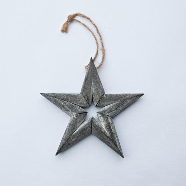 Stern, Holz, grau washed, 13 cm, zum Hängen