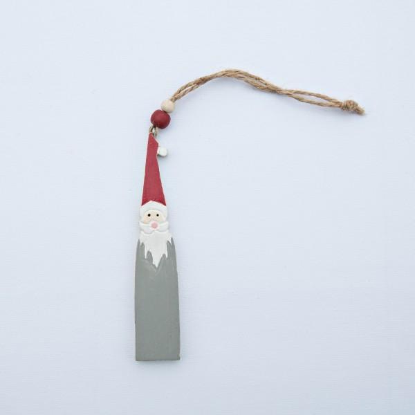 Weihnachtsmann, Santa, Holz, grau, 13x2,5x0,5 cm, zum Hängen