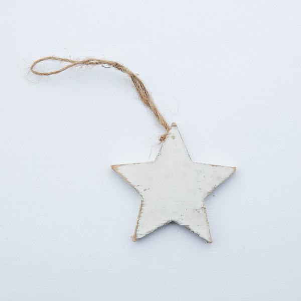 Stern, Holz, antik-weiß, 7 cm, zum Hängen