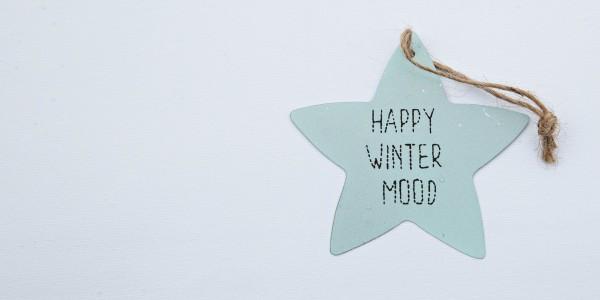"Stern, Blech, blau, ""HAPPY WINTER MOOD""; 8 cm, zum Hängen"