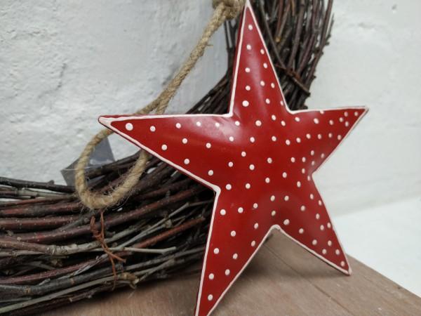Stern, Metall, rot mit weißen Punkten, 15 cm