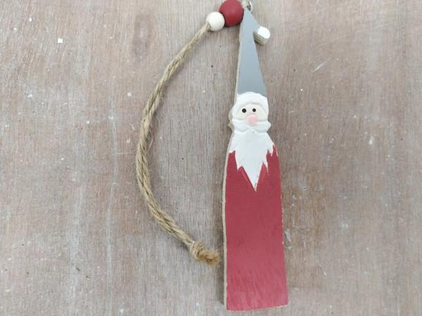 Weihnachtsmann, Santa, Holz, rot, 13x2,5x0,5 cm, zum Hängen