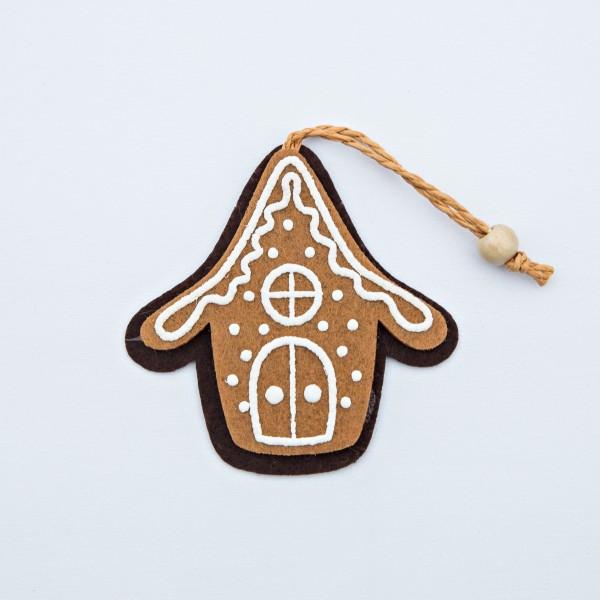 Lebkuchen-Haus, Filz, braun, 9x9x0,5 cm, zum Hängen